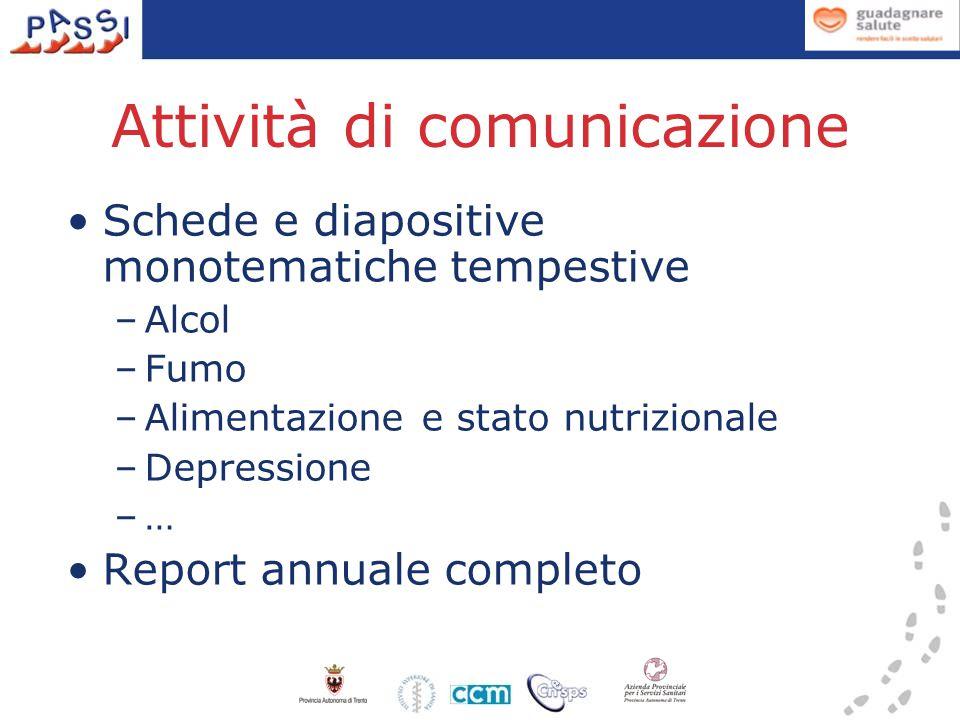 Attività di comunicazione Schede e diapositive monotematiche tempestive –Alcol –Fumo –Alimentazione e stato nutrizionale –Depressione –… Report annuale completo