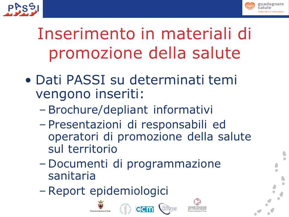 Inserimento in materiali di promozione della salute Dati PASSI su determinati temi vengono inseriti: –Brochure/depliant informativi –Presentazioni di