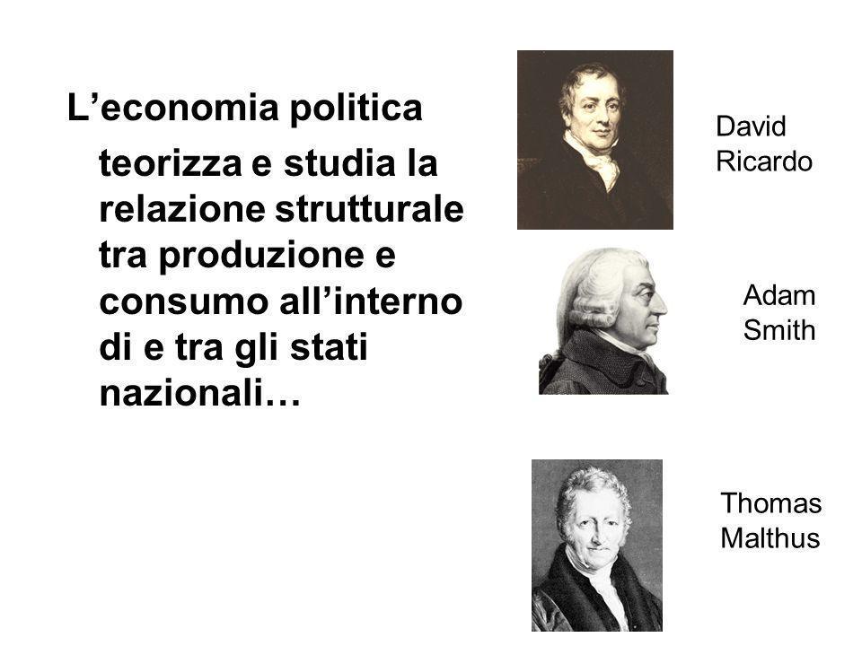 L'economia politica teorizza e studia la relazione strutturale tra produzione e consumo all'interno di e tra gli stati nazionali… Adam Smith Thomas Malthus David Ricardo