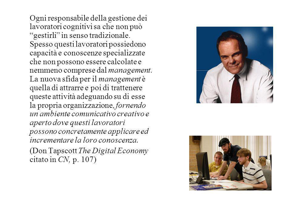 Ogni responsabile della gestione dei lavoratori cognitivi sa che non può gestirli in senso tradizionale.