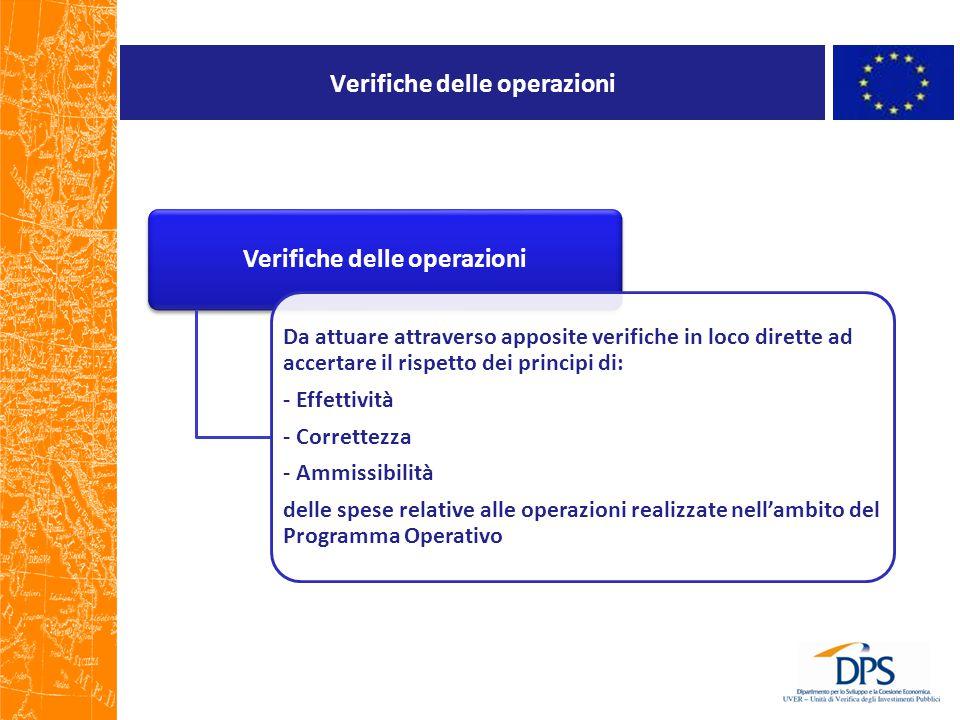 Verifiche delle operazioni Da attuare attraverso apposite verifiche in loco dirette ad accertare il rispetto dei principi di: - Effettività - Corrette