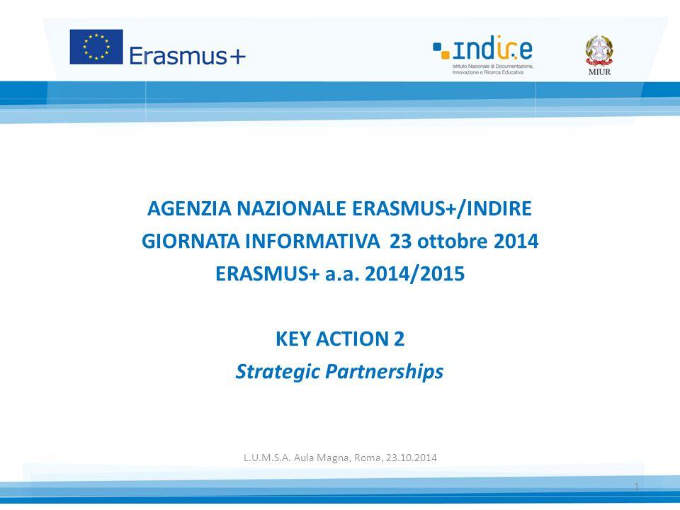 AGENZIA NAZIONALE ERASMUS+/INDIRE GIORNATA INFORMATIVA 23 ottobre 2014 ERASMUS+ a.a.