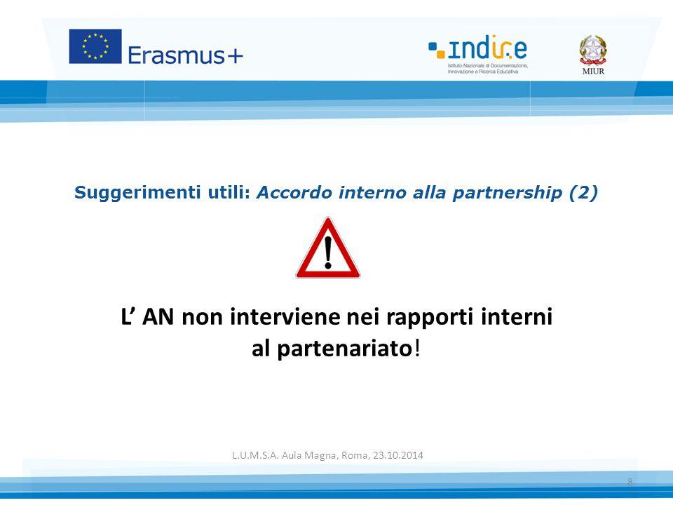 Suggerimenti utili: Accordo interno alla partnership (2) L' AN non interviene nei rapporti interni al partenariato.