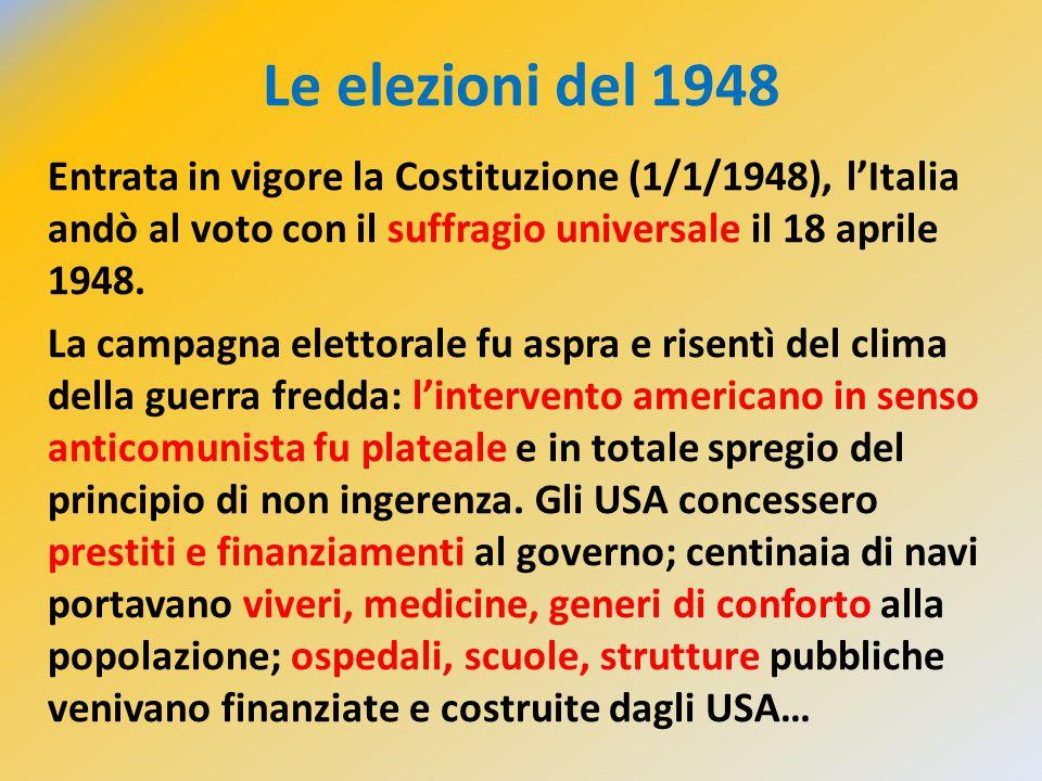 Le elezioni del 1948 Entrata in vigore la Costituzione (1/1/1948), l'Italia andò al voto con il suffragio universale il 18 aprile 1948. La campagna el