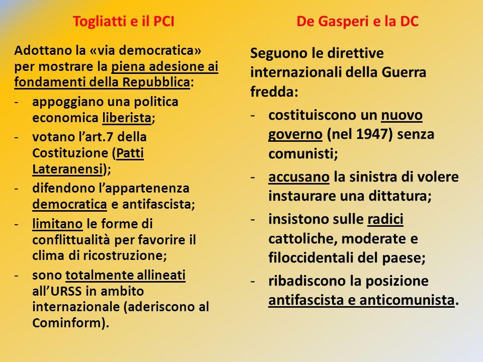 Togliatti e il PCI Adottano la «via democratica» per mostrare la piena adesione ai fondamenti della Repubblica: -appoggiano una politica economica lib