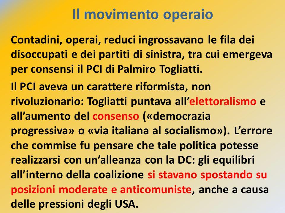 Il movimento operaio Contadini, operai, reduci ingrossavano le fila dei disoccupati e dei partiti di sinistra, tra cui emergeva per consensi il PCI di