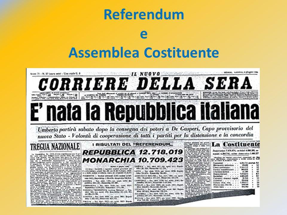 Il 2 giugno 1946 Il 2 giugno 1946 a) Referendum istituzionale 2.VI.1946 b) Assemblea Costituente  Costituzione 2.VI.1946/31.XII.1948 c) regime repubblicano 1946/2013 * * Si vota con sistema proporzionale di lista e possibilità di esprimere preferenze.