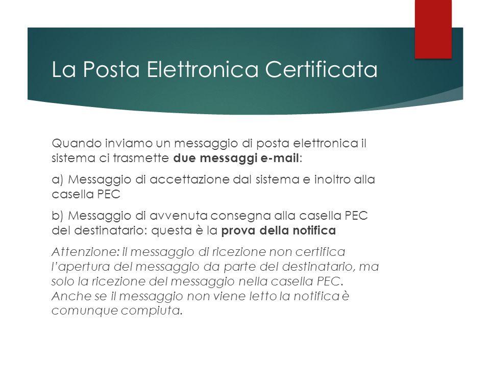 La Posta Elettronica Certificata Quando inviamo un messaggio di posta elettronica il sistema ci trasmette due messaggi e-mail : a) Messaggio di accett