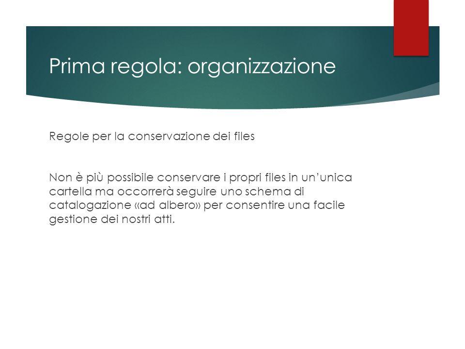 Prima regola: organizzazione Regole per la conservazione dei files Non è più possibile conservare i propri files in un'unica cartella ma occorrerà seg