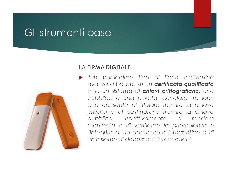 """Gli strumenti base LA FIRMA DIGITALE  """"un particolare tipo di firma elettronica avanzata basata su un certificato qualificato e su un sistema di chia"""