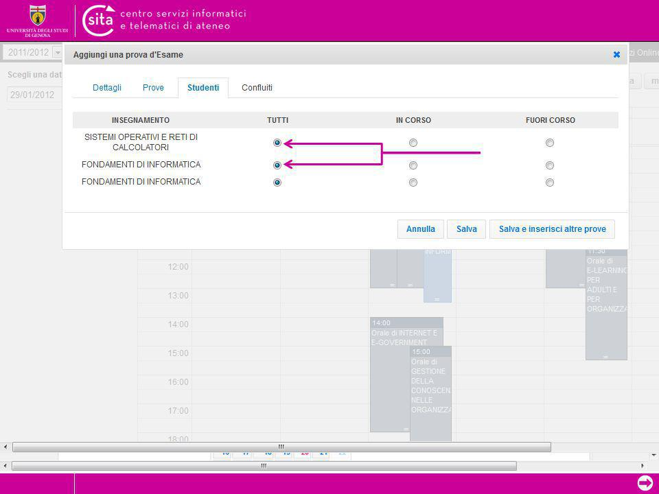 """➲ Form di inserimento – Altri Tab TAB """"Studenti"""", necessario per indicare la tipologia degli studenti che possono accedere alla prova/appello calendar"""