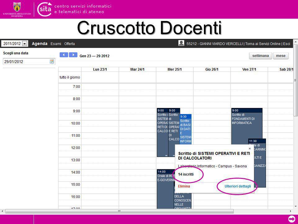 ➲ Cruscotto Docenti Data prova/appello inserita dal docente (colorazione più scura) Data prova/appello inserita da un altro membro della commissione (