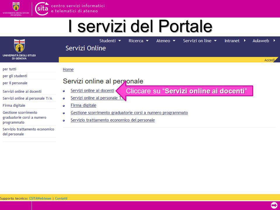 ➲ I servizi del Portale Servizi online ai docenti Cliccare su Servizi online ai docenti