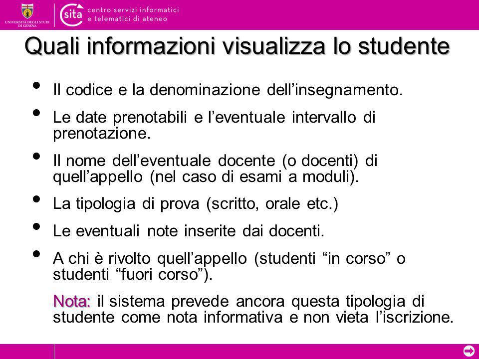 ➲ Quali informazioni visualizza lo studente Il codice e la denominazione dell'insegnamento. Le date prenotabili e l'eventuale intervallo di prenotazio