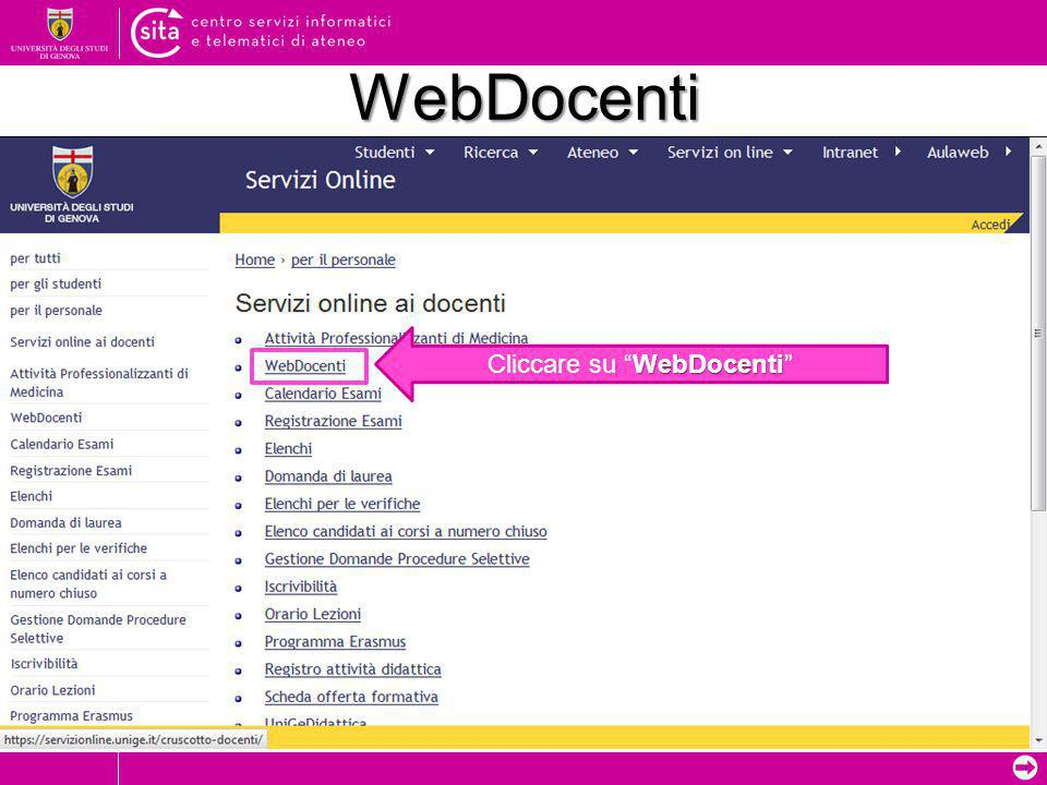 "➲ WebDocenti WebDocenti Cliccare su ""WebDocenti"""