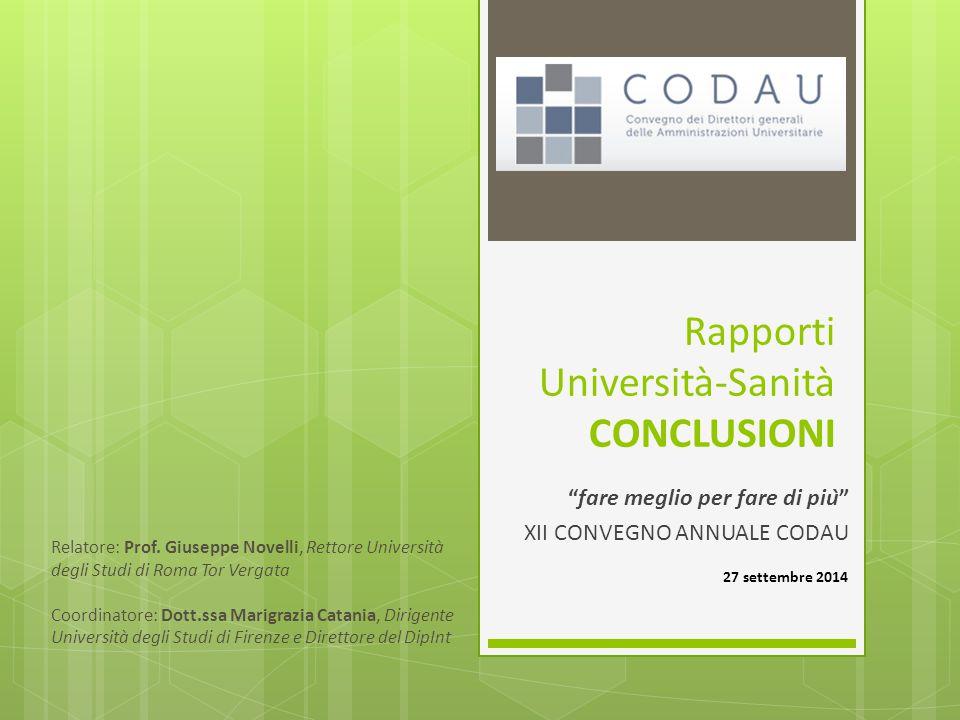 Rapporti Università‐Sanità CONCLUSIONI fare meglio per fare di più XII CONVEGNO ANNUALE CODAU 27 settembre 2014 Relatore: Prof.