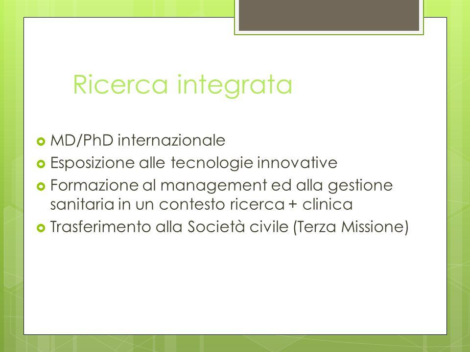 Ricerca integrata  MD/PhD internazionale  Esposizione alle tecnologie innovative  Formazione al management ed alla gestione sanitaria in un contesto ricerca + clinica  Trasferimento alla Società civile (Terza Missione)