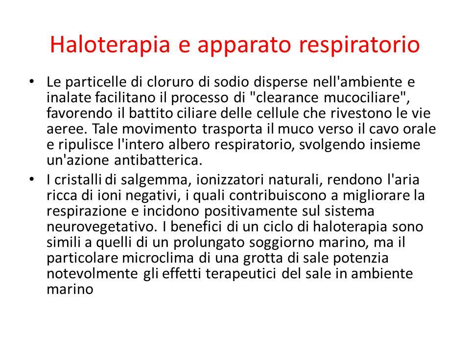 Haloterapia e apparato respiratorio Le particelle di cloruro di sodio disperse nell'ambiente e inalate facilitano il processo di