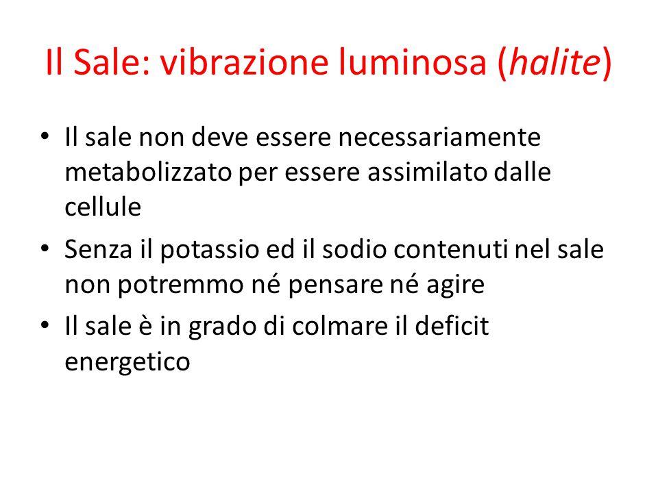 Il Sale: vibrazione luminosa (halite) Il sale non deve essere necessariamente metabolizzato per essere assimilato dalle cellule Senza il potassio ed i