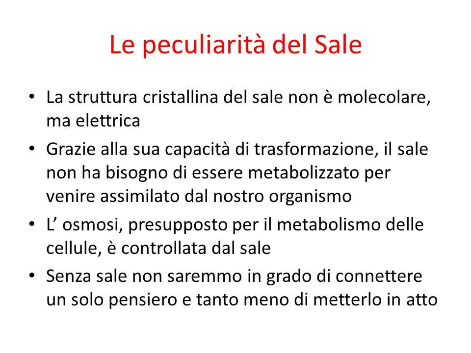 Le peculiarità del Sale La struttura cristallina del sale non è molecolare, ma elettrica Grazie alla sua capacità di trasformazione, il sale non ha bi