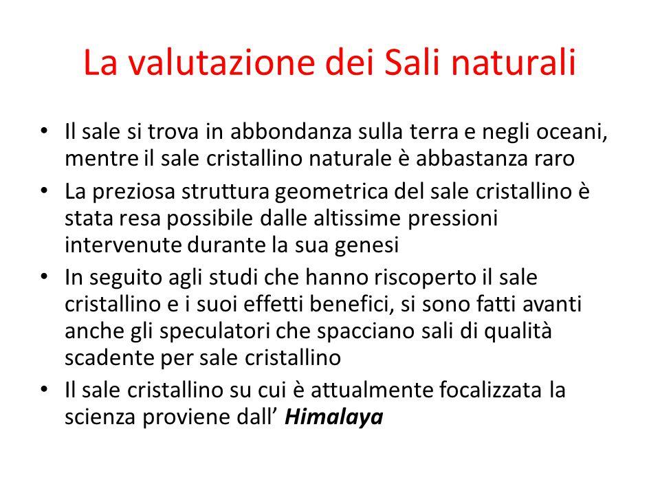 La valutazione dei Sali naturali Il sale si trova in abbondanza sulla terra e negli oceani, mentre il sale cristallino naturale è abbastanza raro La p