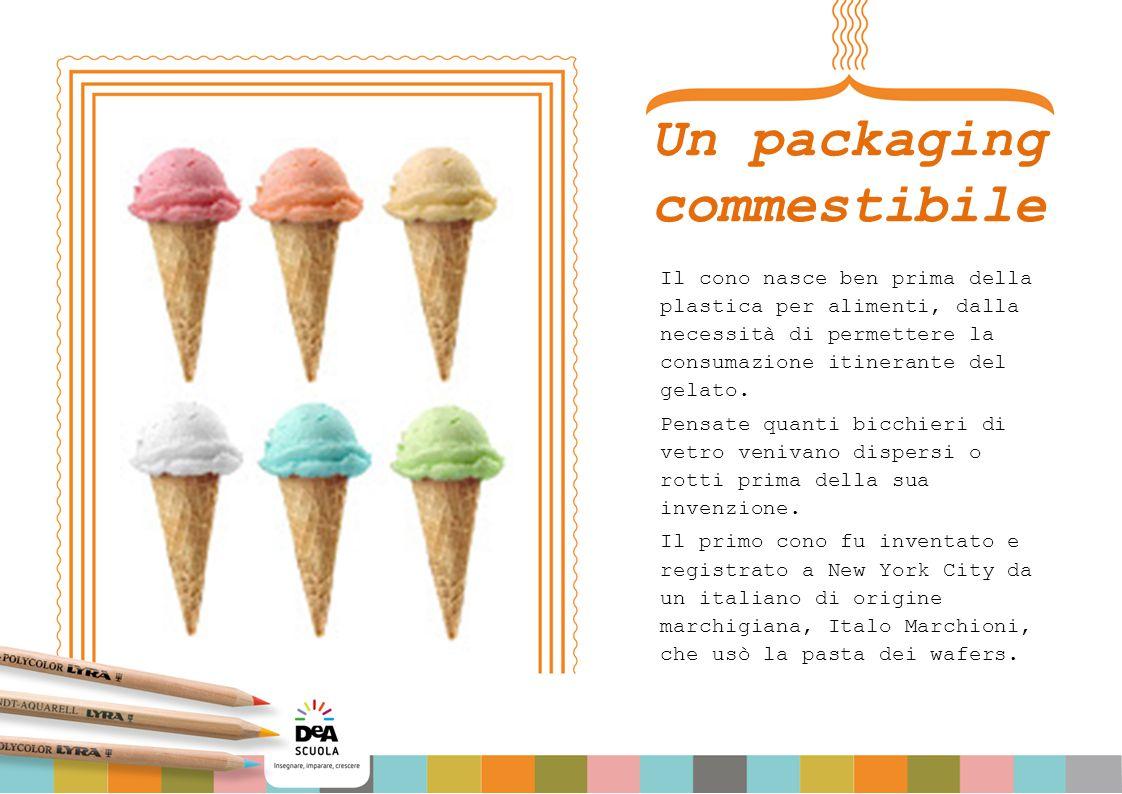 Un packaging commestibile Il cono nasce ben prima della plastica per alimenti, dalla necessità di permettere la consumazione itinerante del gelato. Pe