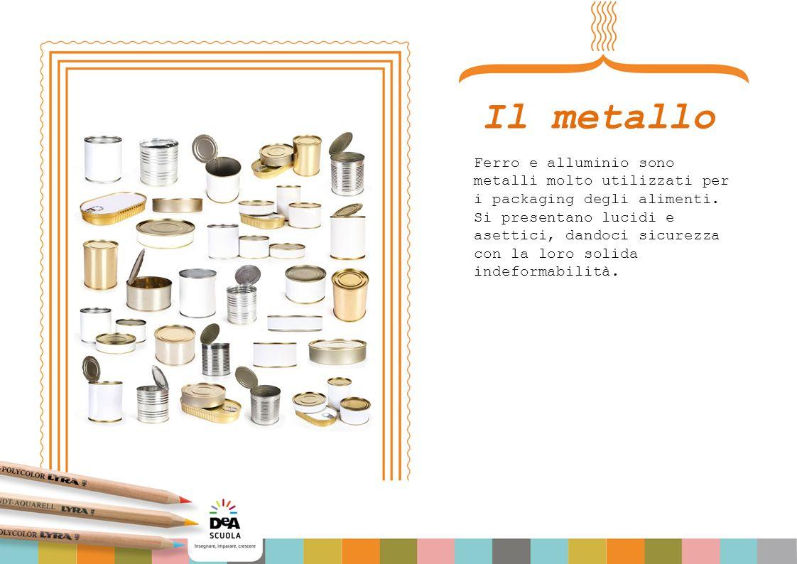 Il metallo Ferro e alluminio sono metalli molto utilizzati per i packaging degli alimenti. Si presentano lucidi e asettici, dandoci sicurezza con la l