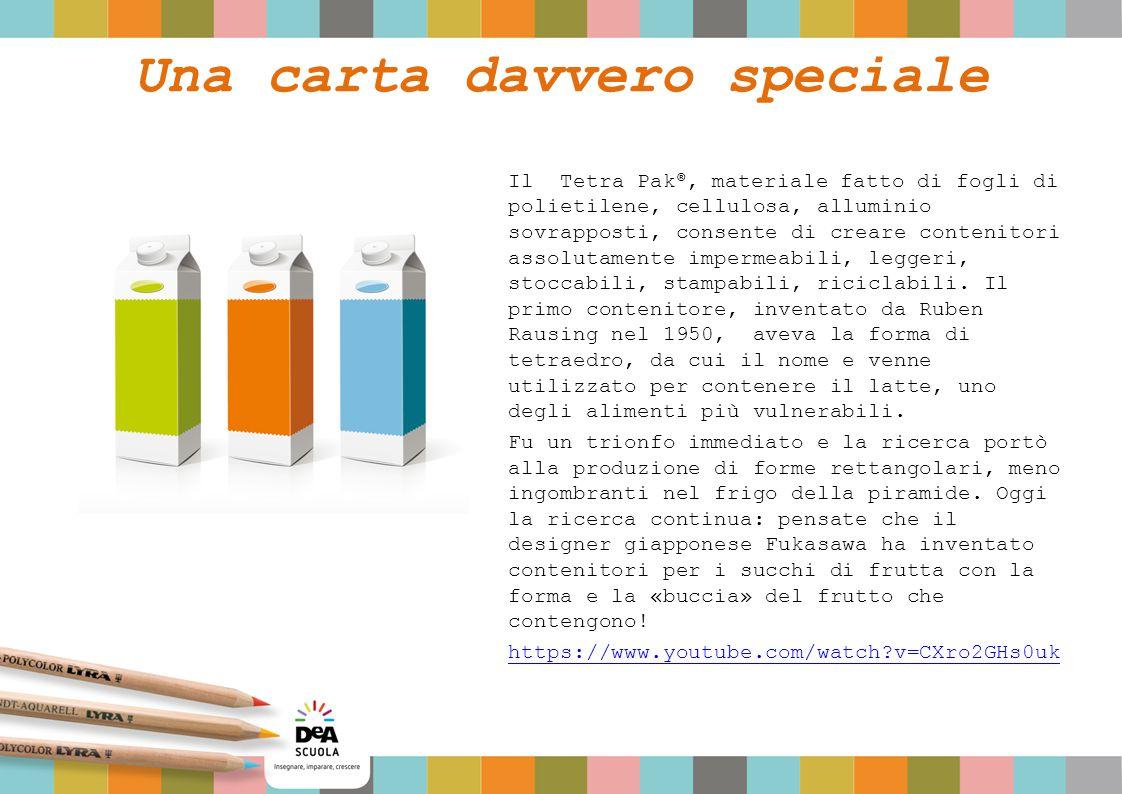 Una carta davvero speciale Il Tetra Pak ®, materiale fatto di fogli di polietilene, cellulosa, alluminio sovrapposti, consente di creare contenitori assolutamente impermeabili, leggeri, stoccabili, stampabili, riciclabili.