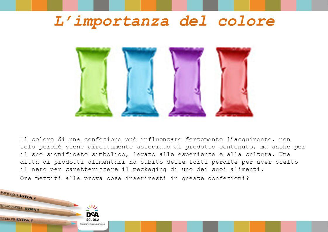 L'importanza del colore Il colore di una confezione può influenzare fortemente l'acquirente, non solo perché viene direttamente associato al prodotto contenuto, ma anche per il suo significato simbolico, legato alle esperienze e alla cultura.