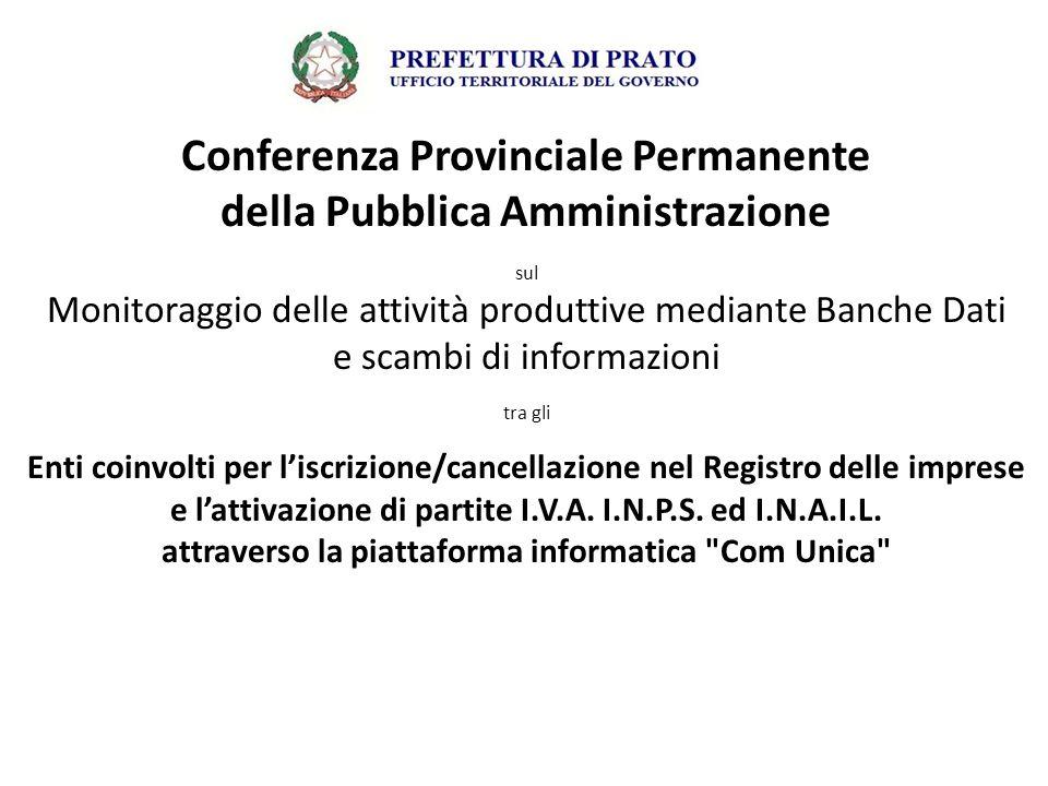 Conferenza Provinciale Permanente della Pubblica Amministrazione sul Monitoraggio delle attività produttive mediante Banche Dati e scambi di informazi