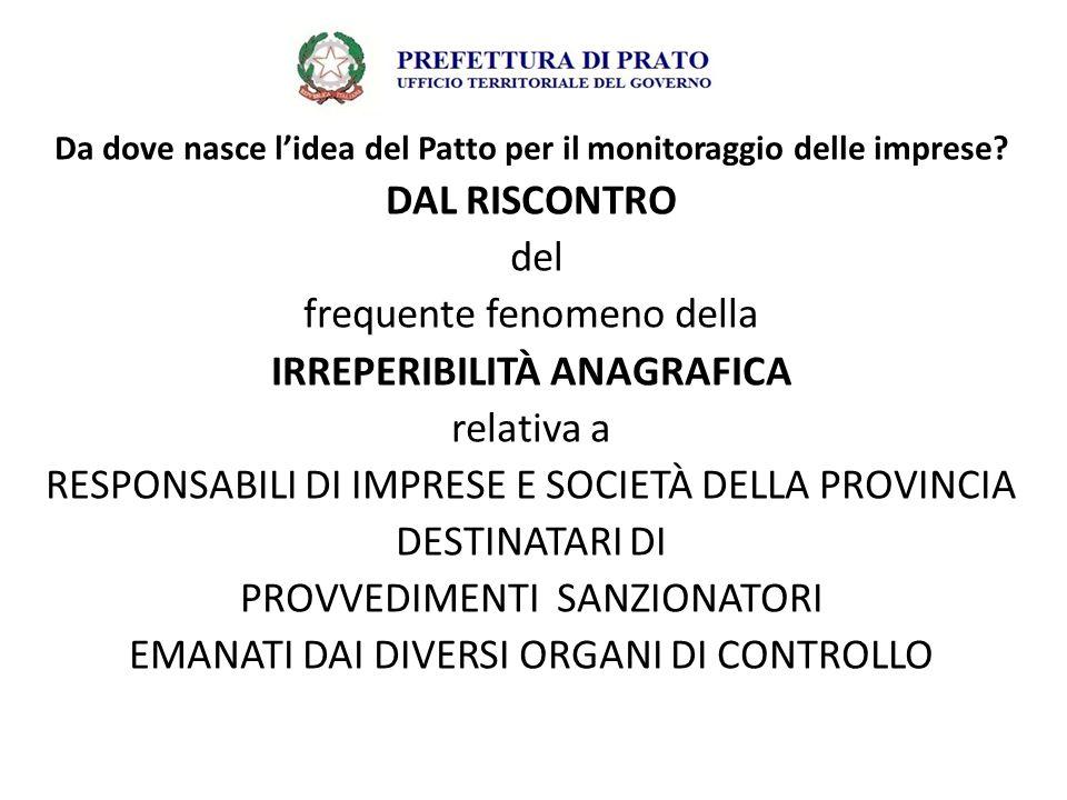Il Patto per il monitoraggio delle attività produttive della provincia di Prato mediante le banche dati degli Enti Pubblici ha come OBIETTIVO l'individuazione di strumenti per verificare situazioni di irregolarità ed illegittimità nella gestione di attività produttive attraverso ulteriori verifiche di tipo amministrativo