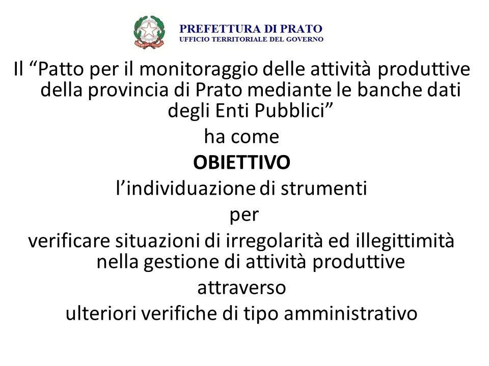 """Il """"Patto per il monitoraggio delle attività produttive della provincia di Prato mediante le banche dati degli Enti Pubblici"""" ha come OBIETTIVO l'indi"""