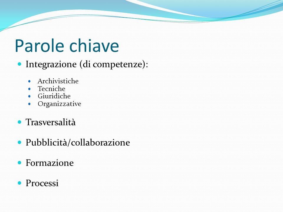 Parole chiave Integrazione (di competenze): Archivistiche Tecniche Giuridiche Organizzative Trasversalità Pubblicità/collaborazione Formazione Processi