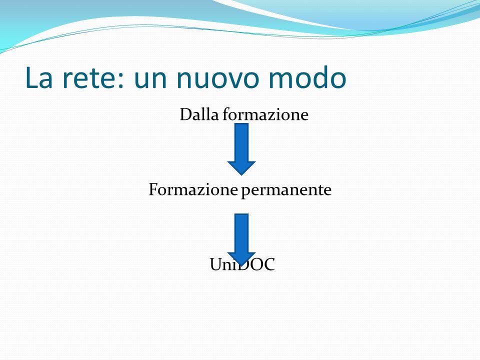 La rete: un nuovo modo Dalla formazione Formazione permanente UniDOC