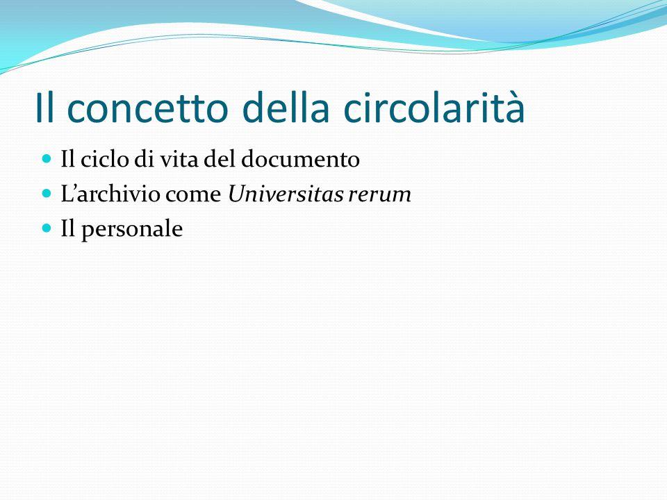 Il concetto della circolarità Il ciclo di vita del documento L'archivio come Universitas rerum Il personale