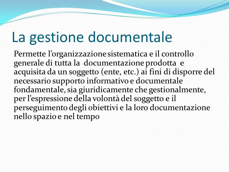 La gestione documentale Un percorso a tappe  Dalla protocollazione alla gestione dell'archivio corrente  L'istituzione dell'archivio di deposito  L'istituzione dell'archivio storico  Valorizzazione e disseminazione