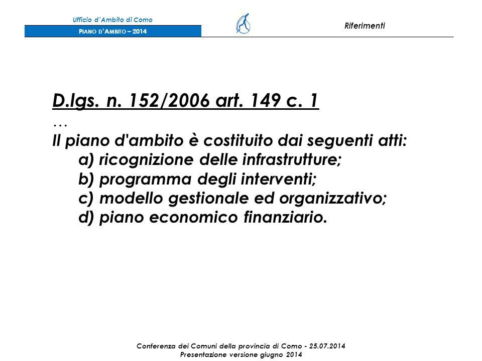 Ufficio d'Ambito di Como Riferimenti P IANO D 'A MBITO – 2014 D.lgs.