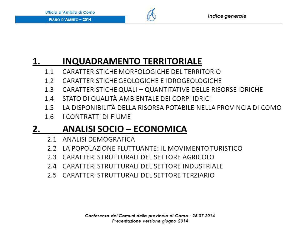 Ufficio d'Ambito di Como Indice generale P IANO D 'A MBITO – 2014 1.INQUADRAMENTO TERRITORIALE 1.1CARATTERISTICHE MORFOLOGICHE DEL TERRITORIO 1.2CARATTERISTICHE GEOLOGICHE E IDROGEOLOGICHE 1.3CARATTERISTICHE QUALI – QUANTITATIVE DELLE RISORSE IDRICHE 1.4STATO DI QUALITÀ AMBIENTALE DEI CORPI IDRICI 1.5LA DISPONIBILITÀ DELLA RISORSA POTABILE NELLA PROVINCIA DI COMO 1.6I CONTRATTI DI FIUME 2.ANALISI SOCIO – ECONOMICA 2.1ANALISI DEMOGRAFICA 2.2LA POPOLAZIONE FLUTTUANTE: IL MOVIMENTO TURISTICO 2.3CARATTERI STRUTTURALI DEL SETTORE AGRICOLO 2.4CARATTERI STRUTTURALI DEL SETTORE INDUSTRIALE 2.5CARATTERI STRUTTURALI DEL SETTORE TERZIARIO Conferenza dei Comuni della provincia di Como - 25.07.2014 Presentazione versione giugno 2014