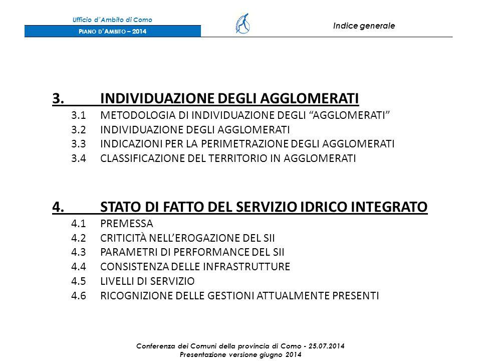 Ufficio d'Ambito di Como Indice generale P IANO D 'A MBITO – 2014 3.INDIVIDUAZIONE DEGLI AGGLOMERATI 3.1METODOLOGIA DI INDIVIDUAZIONE DEGLI AGGLOMERATI 3.2INDIVIDUAZIONE DEGLI AGGLOMERATI 3.3INDICAZIONI PER LA PERIMETRAZIONE DEGLI AGGLOMERATI 3.4CLASSIFICAZIONE DEL TERRITORIO IN AGGLOMERATI 4.STATO DI FATTO DEL SERVIZIO IDRICO INTEGRATO 4.1PREMESSA 4.2CRITICITÀ NELL'EROGAZIONE DEL SII 4.3PARAMETRI DI PERFORMANCE DEL SII 4.4CONSISTENZA DELLE INFRASTRUTTURE 4.5LIVELLI DI SERVIZIO 4.6RICOGNIZIONE DELLE GESTIONI ATTUALMENTE PRESENTI Conferenza dei Comuni della provincia di Como - 25.07.2014 Presentazione versione giugno 2014