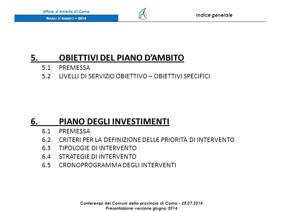 Ufficio d'Ambito di Como Indice generale P IANO D 'A MBITO – 2014 5.OBIETTIVI DEL PIANO D'AMBITO 5.1PREMESSA 5.2LIVELLI DI SERVIZIO OBIETTIVO – OBIETTIVI SPECIFICI 6.PIANO DEGLI INVESTIMENTI 6.1PREMESSA 6.2CRITERI PER LA DEFINIZIONE DELLE PRIORITÀ DI INTERVENTO 6.3TIPOLOGIE DI INTERVENTO 6.4STRATEGIE DI INTERVENTO 6.5CRONOPROGRAMMA DEGLI INTERVENTI Conferenza dei Comuni della provincia di Como - 25.07.2014 Presentazione versione giugno 2014