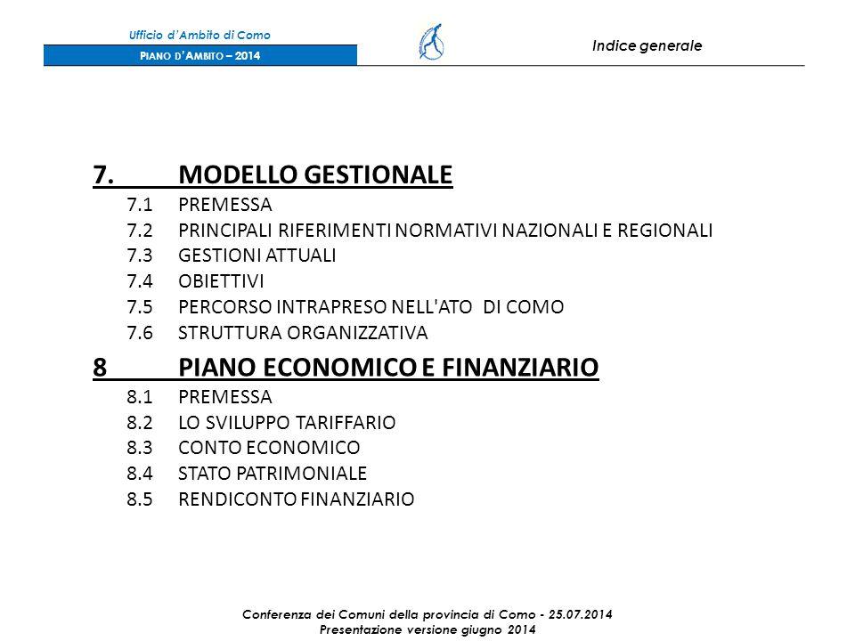 Ufficio d'Ambito di Como Indice generale P IANO D 'A MBITO – 2014 7.MODELLO GESTIONALE 7.1PREMESSA 7.2PRINCIPALI RIFERIMENTI NORMATIVI NAZIONALI E REGIONALI 7.3GESTIONI ATTUALI 7.4OBIETTIVI 7.5PERCORSO INTRAPRESO NELL ATO DI COMO 7.6STRUTTURA ORGANIZZATIVA 8PIANO ECONOMICO E FINANZIARIO 8.1PREMESSA 8.2LO SVILUPPO TARIFFARIO 8.3CONTO ECONOMICO 8.4STATO PATRIMONIALE 8.5RENDICONTO FINANZIARIO Conferenza dei Comuni della provincia di Como - 25.07.2014 Presentazione versione giugno 2014