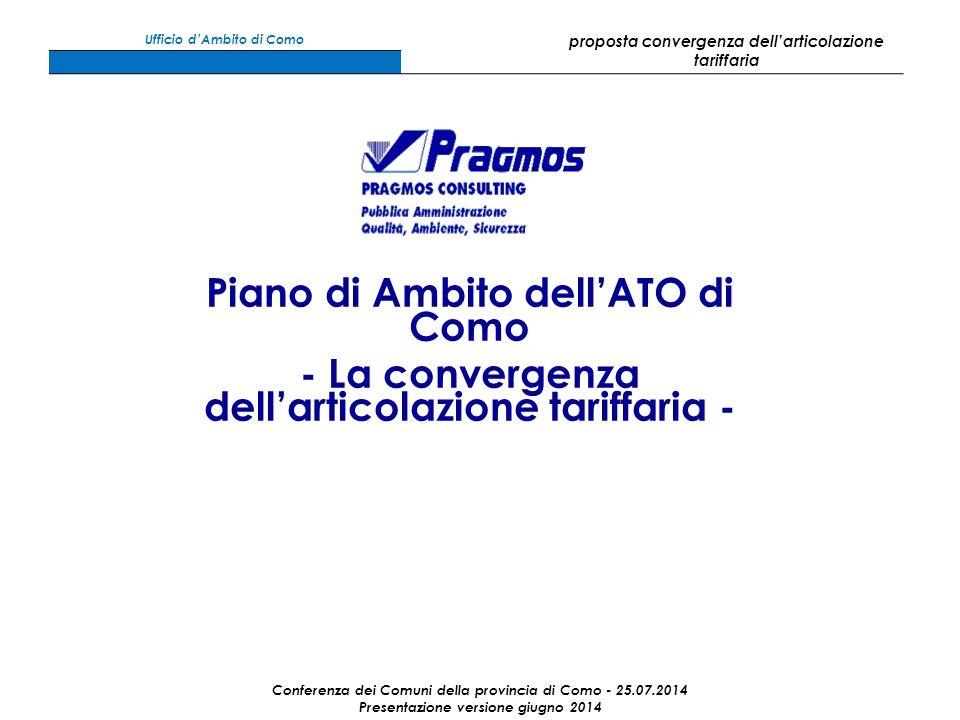 Piano di Ambito dell'ATO di Como - La convergenza dell'articolazione tariffaria - Conferenza dei Comuni della provincia di Como - 25.07.2014 Presentazione versione giugno 2014 Ufficio d'Ambito di Como proposta convergenza dell'articolazione tariffaria