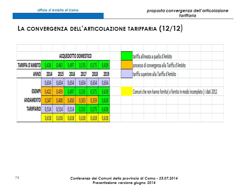 74 Conferenza dei Comuni della provincia di Como - 25.07.2014 Presentazione versione giugno 2014 L A CONVERGENZA DELL ' ARTICOLAZIONE TARIFFARIA (12/12 ) Ufficio d'Ambito di Como proposta convergenza dell'articolazione tariffaria