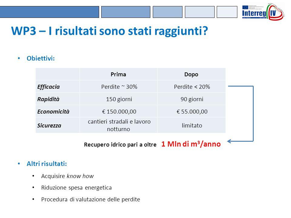 WP3 – I risultati sono stati raggiunti? PrimaDopo Efficacia Perdite ~ 30% Perdite < 20% Rapidità 150 giorni 90 giorni Economicità € 150.000,00 € 55.00