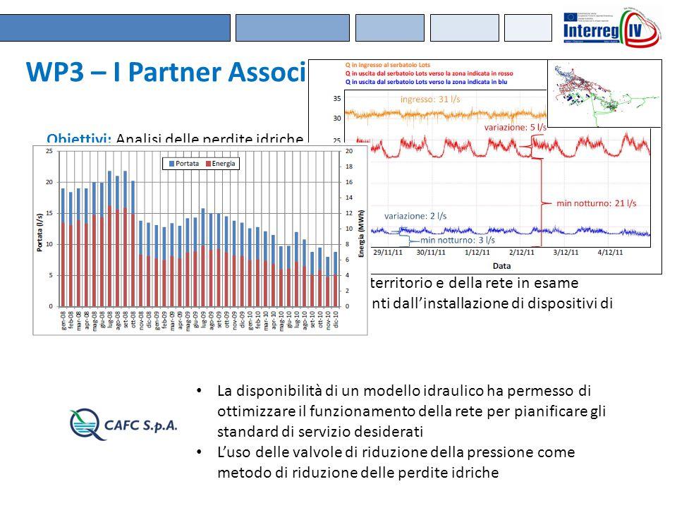 WP3 – I Partner Associati Obiettivi: Analisi delle perdite idriche in una rete di propria competenza Risultati: Valutazione e uso di diverse metodolog