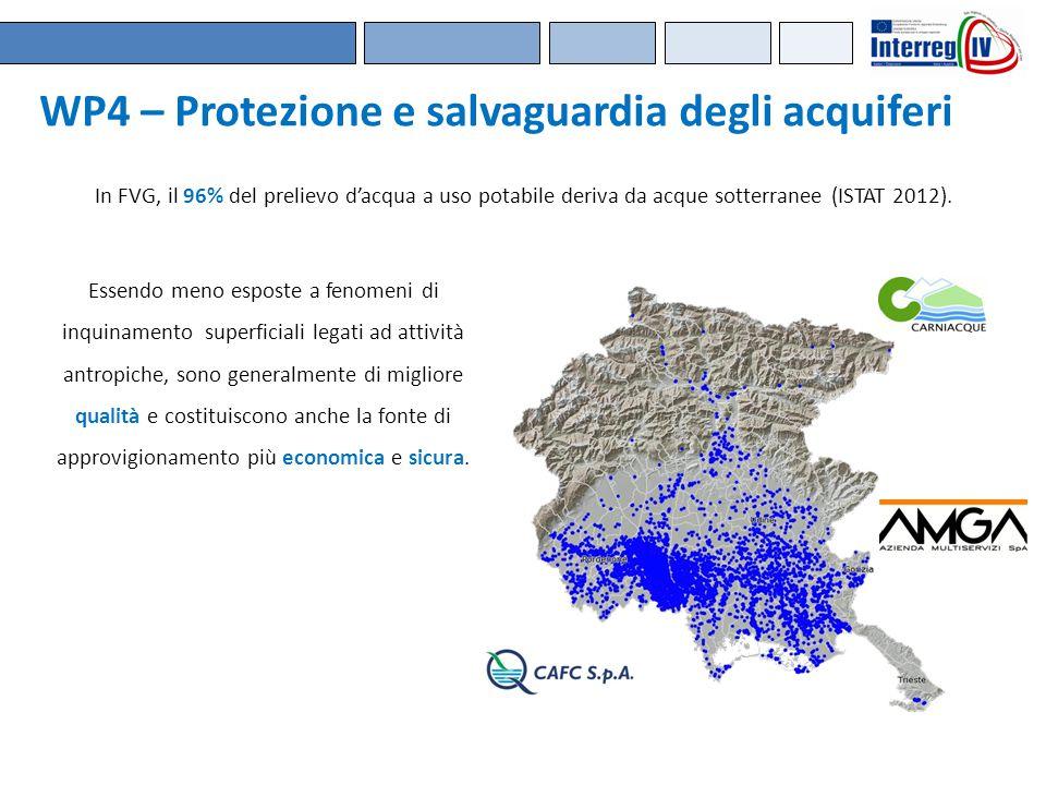 WP4 – Protezione e salvaguardia degli acquiferi In FVG, il 96% del prelievo d'acqua a uso potabile deriva da acque sotterranee (ISTAT 2012). Essendo m