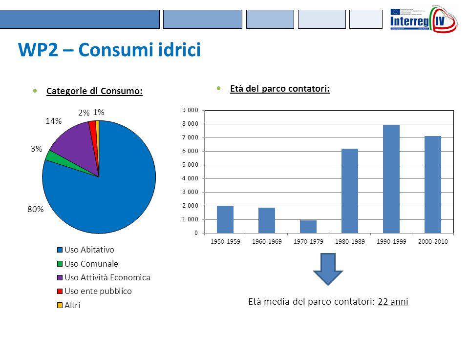 Categorie di Consumo: Età del parco contatori: Età media del parco contatori: 22 anni WP2 – Consumi idrici