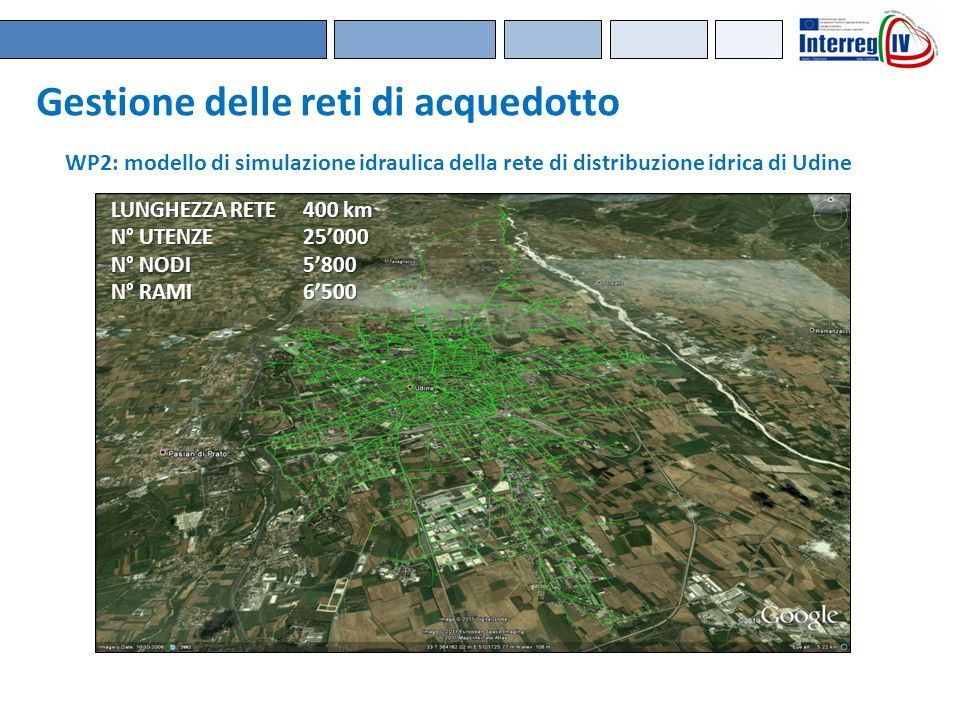 Gestione delle reti di acquedotto LUNGHEZZA RETE400 km N° UTENZE25'000 N° NODI5'800 N° RAMI6'500 WP2: modello di simulazione idraulica della rete di d