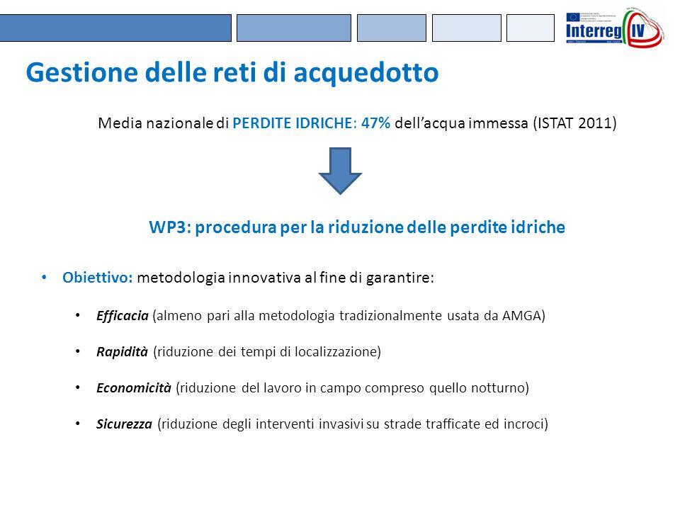 Media nazionale di PERDITE IDRICHE: 47% dell'acqua immessa (ISTAT 2011) Obiettivo: metodologia innovativa al fine di garantire: Efficacia (almeno pari