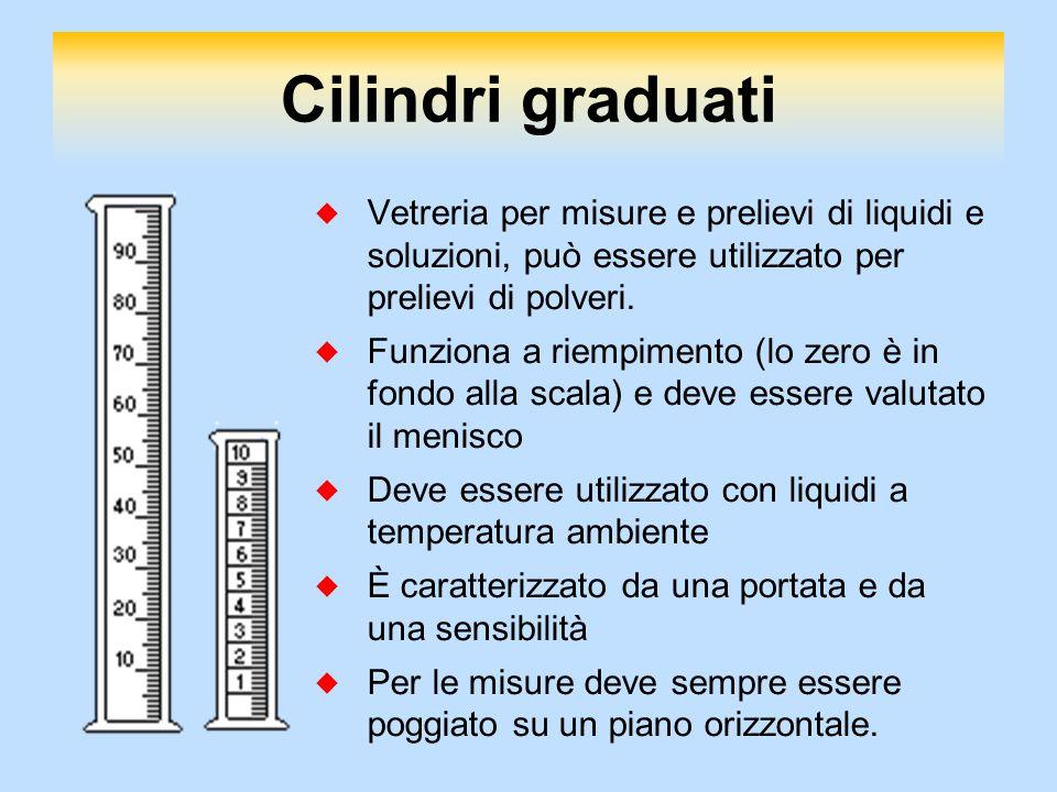 Cilindri graduati  Vetreria per misure e prelievi di liquidi e soluzioni, può essere utilizzato per prelievi di polveri.  Funziona a riempimento (lo